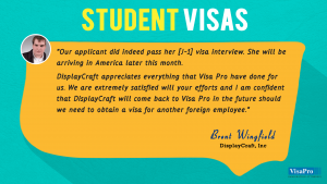 VisaPro Immigration Attorneys Success Testimonials About US Student Visa.