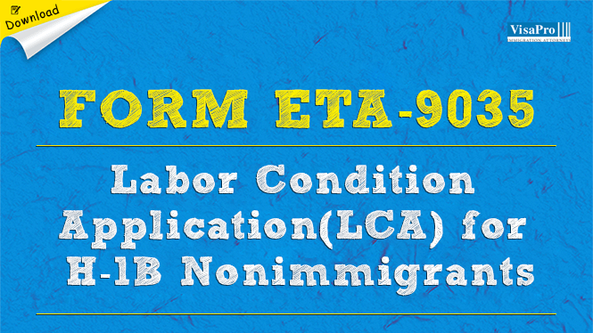 Form ETA-9035 Labor Condition Application LCA: Free Download