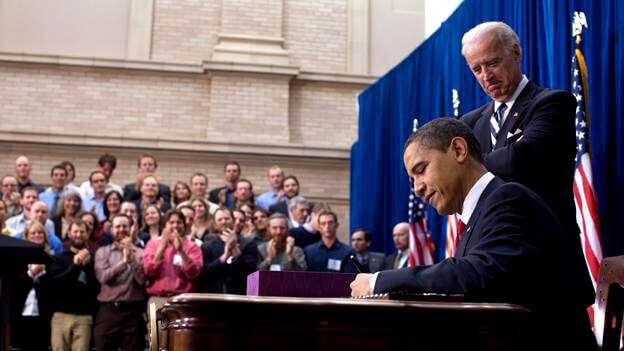 U.S. President Barack Obama Signs The ARRA Into Law In Denver, Colorado.