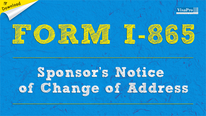 Uscis Form I 865 Sponsors Notice Of Change Of Address Free Download